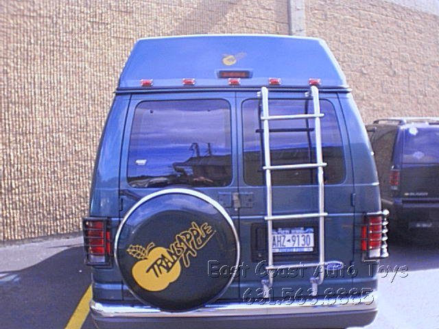 1991 - 2002 Ford Tire Carrier, Lighted Ladder & Custom Dish with Stainless